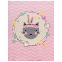 Leen Bakker Vloerkleed Mood Feather Cat - roze - 95x125 cm