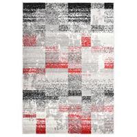 VidaXL Vloerkleed 80x150 cm PP grijs en rood