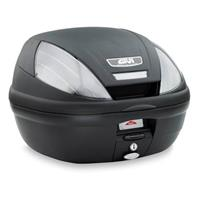 E370 topkoffer, Topkoffers en zijkoffers voor de moto, fumé reflectoren, zwarte cover