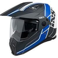 208 2.0, Dual Sport motorhelm, Mat Zwart Wit Blauw