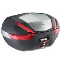 V47 topkoffer, Topkoffers en zijkoffers voor de moto, rode reflectoren, aluminium afwerking