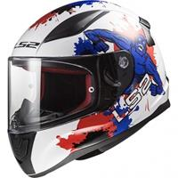 FF353 Rapid mini Monster, Kinder motorhelm, Wit-Blauw