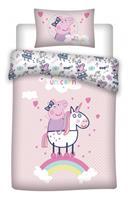 peppapig Peppa Pig dekbedovertrek Unicorn 140 x 200 cm polyester roze