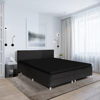 hotelhome Hotel Home Topper Hoeslaken Stretch - Basic Zwart 90 x 200/210/220