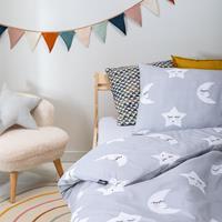 fresh&cokids Fresh&Co Kids Moon & Stars - Grijs 100 x 135 Dekbedovertrek