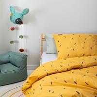 fresh&cokids Fresh&Co Kids Mini Stripes - Geel 120 x 150 cm Dekbedovertrek