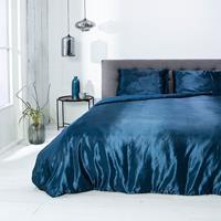 fresh&co Fresh & Co Dekbedovertrek Silk Satin - Blauw 1-persoons (140 x 220 cm + 1 kussensloop)