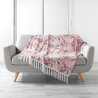 Eigen merk Plaid roze met bladmotief 125x150cm