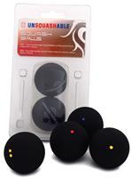 Unsquashable squashballen blauwe stip zwart 2 stuks