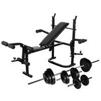 vidaXL Gewichtenbank met gewichtenrek en halterset 30,5 kg