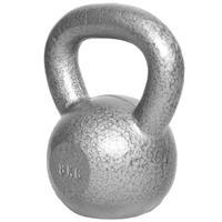 Kettlebell 8 kg -Gietijzer - extra stabiel - zilver