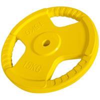 Halterschijf 15 kg Gripper Gietijzer (rubber coating)