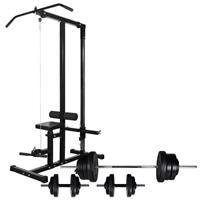 vidaXL Krachttoren met halterset 60,5 kg