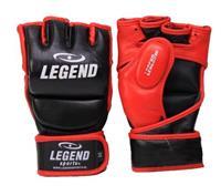 MMA-handschoenen met duim zwart/rood