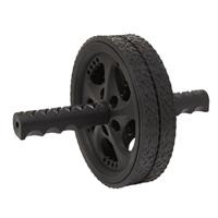 Fit Essentials dubbel buikspierwiel 18,5 cm zwart