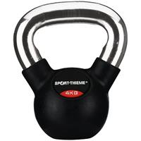 Sport-Thieme Kettlebell met rubber bekleed met gladde chromen handgreep, 4 kg