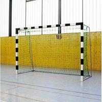 Sport-Thieme Zaalhandbaldoel 3x2 m, om in grondbussen te plaatsen met inklapbare netbeugels, Rood-zilver, Vastgeschroefde hoekverbindingen