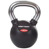 Sport-Thieme Kettlebell met rubber bekleed met gladde chromen handgreep, 10 kg