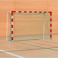 Sport-Thieme Handbaldoel met inklapbare netbeugels, Rood-zilver, Standard, doeldiepte 1 m