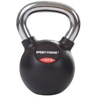 Sport-Thieme Kettlebell met rubber bekleed met gladde chromen handgreep, 14 kg