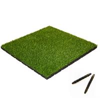 sporttrader Rubber Tegel met Kunstgras Toplaag - met Pen-en-Gat systeem - 50 x 50 x 5,5 cm