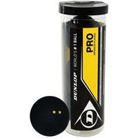 Dunlop Squashballen Pro dubbel gele stip rubber zwart 3 stuks