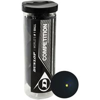 Dunlop Squashballen Competition gele stip rubber zwart 3 stuks