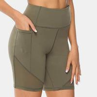 newchic Plus Size Plain Sports Shorts Dry Quickly Biker Panty With Pocket