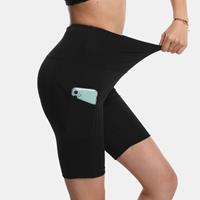 newchic Women Elastic High Waist Biker Shorts With Pocket Sports Panty For Yoga Running