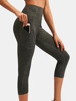 newchic Women Quick-Drying High Elastic Skinny Sports High Waist Cropped Pants With Side Pocket