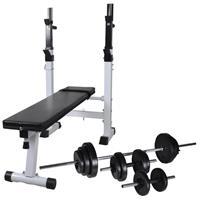 vidaXL Trainingsbank met gewichtenrek en halterset 30,5 kg
