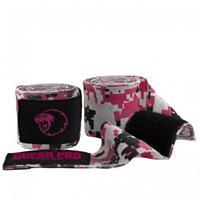 Super Pro bandages Combat Gear katoen roze/wit/zwart 250cm