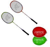Atipick badmintonset  012 staal rood/groen 4 delig