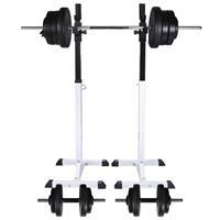 vidaXL Halter-/squatrek met halterset 60,5 kg