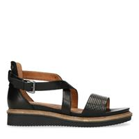 No stress Sleehak sandalen zwart leer