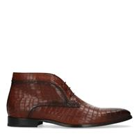 Black label Cognac veterboots met crocoprint