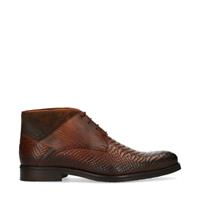 Manfield Cognac veterboots met crocoprint