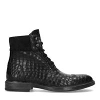 Black label Zwarte veterboots met crocoprint