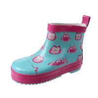 Playshoes korte regenlaarzen uilen blauw/roze