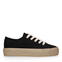 Sacha Donkerblauwe sneakers met touwzool - zwart