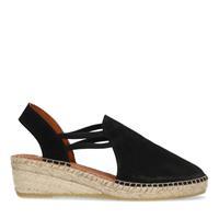 Manfield Zwarte suède sandalen met sleehak