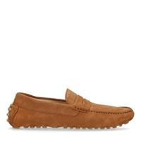 Manfield Cognac suède loafers met crocoprint