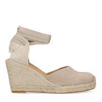 Manfield Taupe sandalen met sleehak