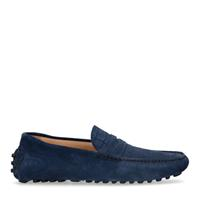 Manfield Blauwe suède loafers met crocoprint