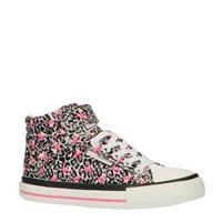 Dee hoge sneakers luipaard/flamingo wit/roze