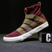 newchic Men High Top Canvas Elastic Slip On Soft Casual Trainers