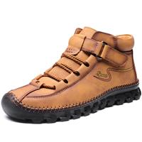 newchic Men Cow Leather Non Slip Hand Stitching Soft Sole Casual Outdoor Boots