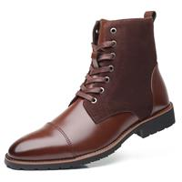 newchic Men Vintage Cap Toe Outdoor Wearable Lace Up Ankle Boots