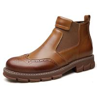 newchic Men Classic Brogue Carved Elastic Slip On Leather Chelsea Boots