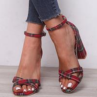 newchic Women Cross Strap Lattice Decor Buckle High Heel Sandals